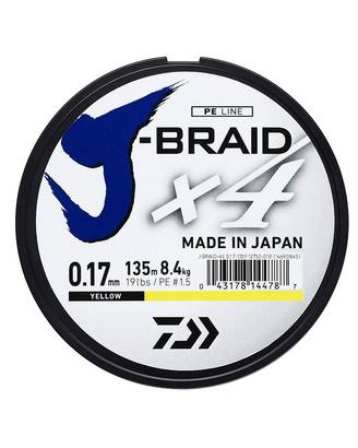 Daiwa J-Braid x4 Yellow - Siimat ja pientarvikkeet - 043178145845 - 1